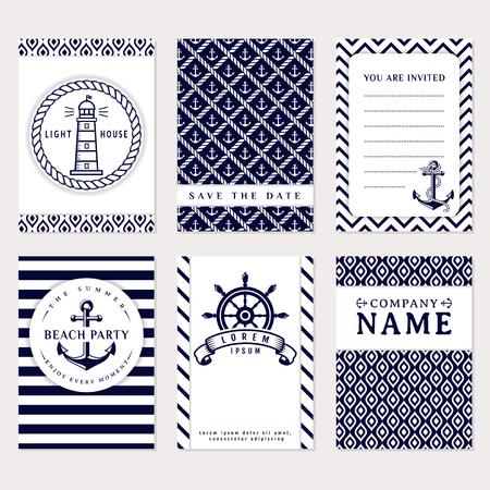 Conjunto de banderas y volantes náuticas y marinas. tarjetas elegantes en colores azules blancas y azul marino. el tema del mar. Colección de vector.