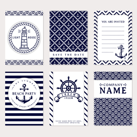 date: Set of nautical and marine banners and flyers. Elegant card templates in white and navy blue colors. Sea theme. Vector collection.