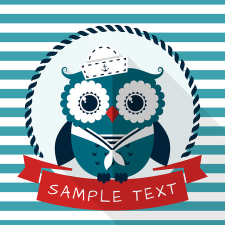 baby shower party: Card with pretty sailor owl and place for text. Vector illustration.