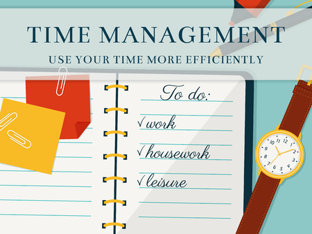 implementation: Time management advertising banner. Efficient use of time for the implementation of the plans. Vector concept background in flat style. Top view of to do list in a notebook and wristlet watch.