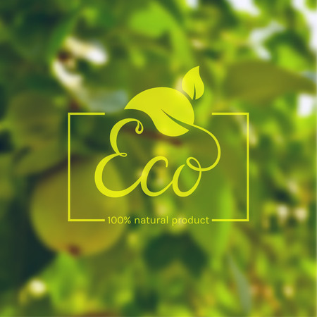 Eco product logo. Template with green leaves and hand drawn lettering on blurred background. Eco label for natural products. Vector illustration. Illustration