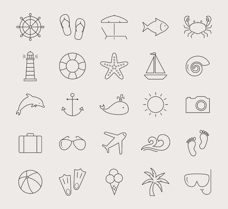 swim mask: Set of holidays, sea and beach line icons. Seaside resort and beach relaxation. Collection of thin outline design elements. Black symbols isolated on white background. Vector illustration.