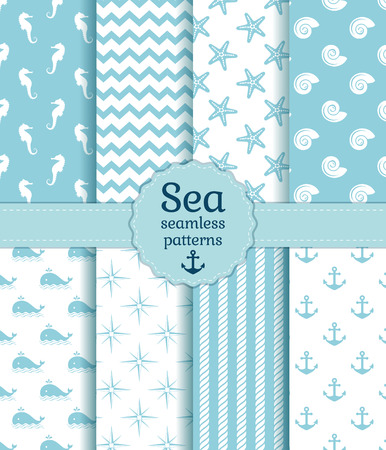 Set of sea and nautical seamless patterns in white and pale blue colors. Vector illustration.