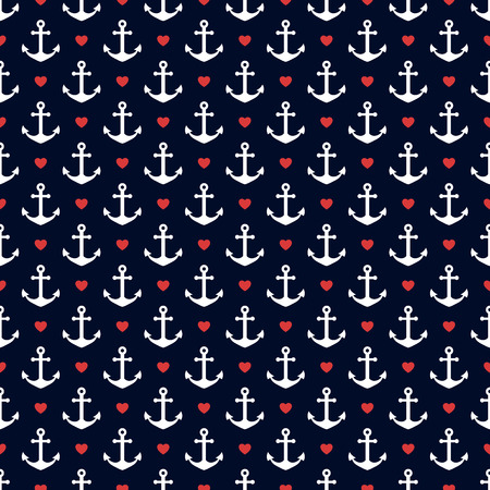 Seamless pattern with anchors and hearts. Nautical theme. Vector background.