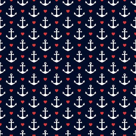 Seamless pattern con ancore e cuori. tema nautico. Vector background. Vettoriali