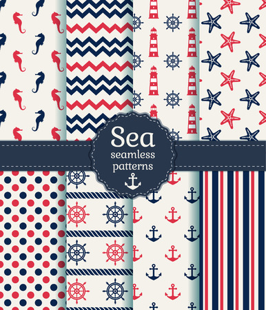 chevron pattern: Set of sea and nautical seamless patterns in white, pink and dark blue colors. Vector illustration. Illustration
