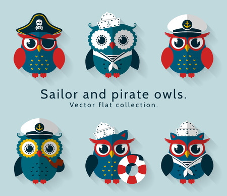 Ahoy! Set of sailor, captain and pirate owls for sea and nautical design. Funny icons isolated on blue background. Vector flat collection.