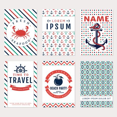 azul turqueza: Conjunto de banderas y volantes náuticas y marinas. Plantillas de tarjetas en colores blanco, azul, turquesa y rojo. el tema del mar. Colección de vector.