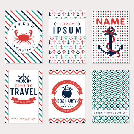 Set of nautical and marine banners and flyers. Card templates in white, blue, turquoise and red colors. Sea theme. Vector collection. Ilustração