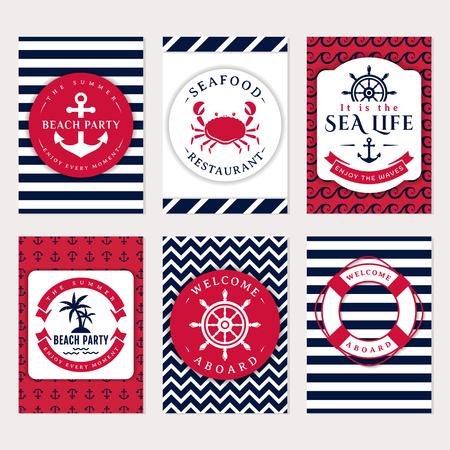mariscos: Conjunto de banderas y volantes náuticas y marinas. tarjetas elegantes en blanco, azul marino y rosa colores. el tema del mar. Colección de vector. Vectores
