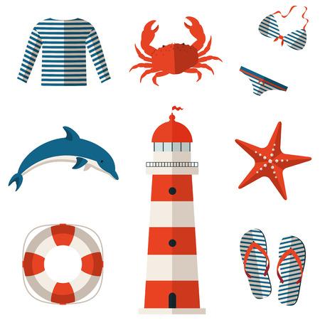 azul: Conjunto de iconos de playa y mar plana. Colección de elementos de diseño. Ilustración del vector. Vectores