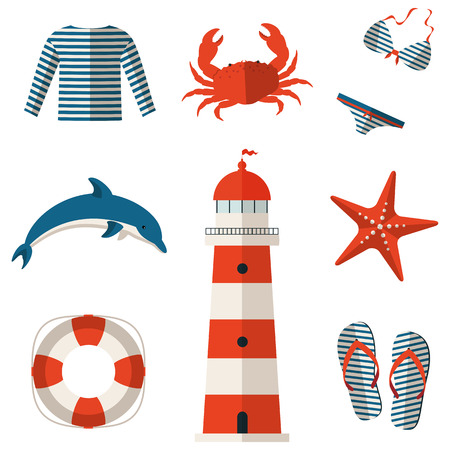 blue and white: Set of sea and beach flat icons. Collection of design elements. Vector illustration. Illustration