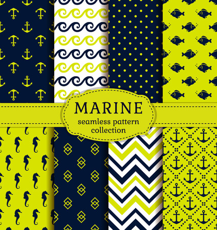 green backgrounds: Sea and nautical backgrounds in dark blue, green and white colors. Sea theme. Seamless patterns collection. Vector set.