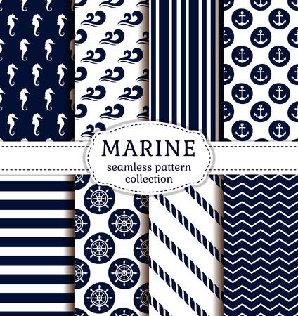 marinero: Conjunto de mar y fondos náuticas en colores azul oscuro y blanco. el tema del mar. colección de patrones sin fisuras. Ilustración del vector.