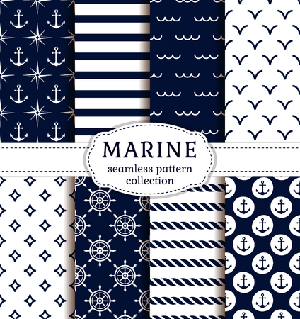 ancla: Conjunto de mar y fondos náuticas en colores azul oscuro y blanco. el tema del mar. colección de patrones sin fisuras. Ilustración del vector.