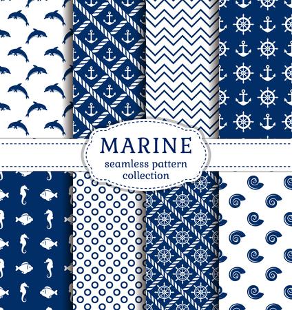 Conjunto de mar y fondos náuticas en color azul marino y colores blancos. el tema del mar. colección de patrones sin fisuras. Ilustración del vector.