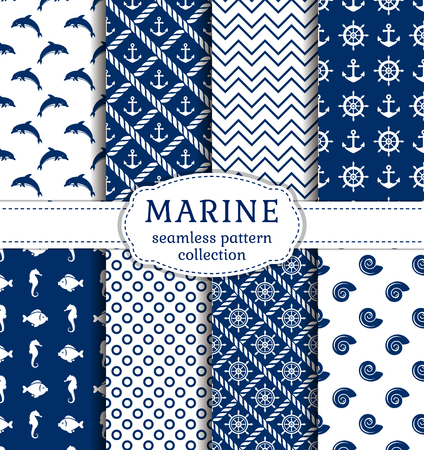 Set of sea and nautical backgrounds in navy blue and white colors. Sea theme. Seamless patterns collection. Vector illustration.
