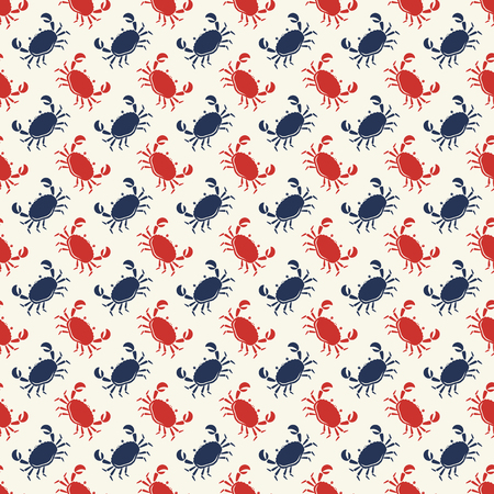 Seamless pattern with red and blue crabs on white background. Vector illustration.