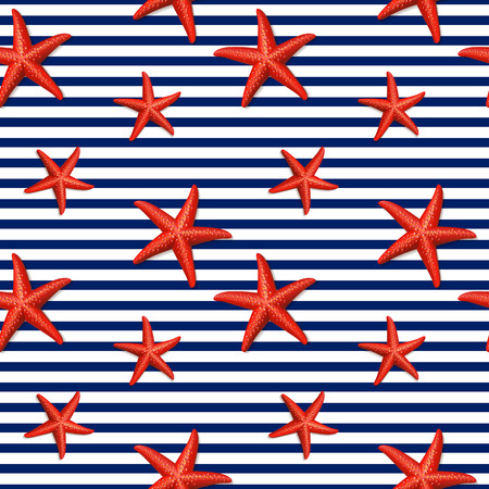Seamless striped pattern with starfish. Vector illustration.