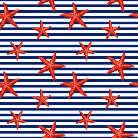 Bezszwowy pasiasty wzór z rozgwiazdą. Ilustracji wektorowych. Ilustracje wektorowe