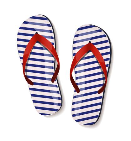 flipflops: Pair of flip-flops on white background. Vector illustration.