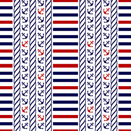 Nautical seamless pattern with stripes and anchors. Vector illustration.