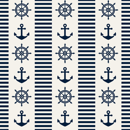 Nautical seamless pattern with steering wheels and anchors. Vector illustration.