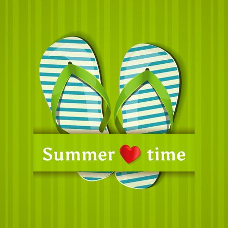 Sommerzeit. Karte mit Flip-Flops. Vektor-Illustration.
