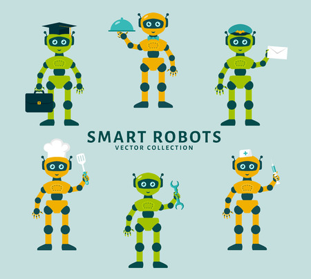 Robots occupations. Set of smart robots holding positions waiter, postman, repairman, cook, nurse. Future technologies. Collection of cute robots isolated on a blue background. Vector illustration.