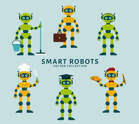 android robot: Robots occupations. Smart robots holding positions cleaner, businessman, telemarketer, baker, artist. Future technology. Collection of cute robots isolated on a blue background. Vector illustration.