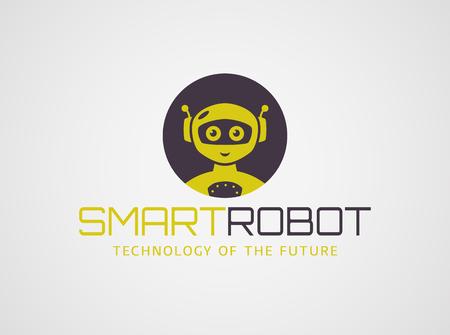 modèle de robot intelligent. logotype mignon isolé sur fond blanc. Les technologies du futur thème. Vector concept de symbole.