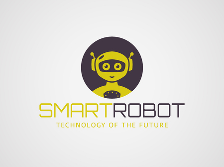 robot head: Smart robot template. Cute logotype isolated on white background. Future technologies theme. Vector concept symbol.