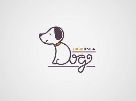 Dog logo modèle. chiot heureux logotype isolé sur fond blanc. Le corps et la queue sont fabriqués à partir de la main des lettres tirées de chiens. concept Vector design.