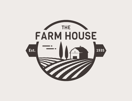 Farm House concept . Template with farm landscape. Label for natural farm products. Black isolated on white background. Vector illustration.