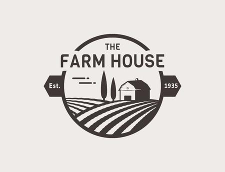 etiqueta: concepto Granja. Plantilla con paisaje de la granja. Etiqueta para los productos agrícolas naturales. Negro sobre fondo blanco. Ilustración del vector.
