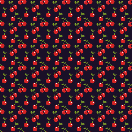 dark cherry: Seamless pattern with cherry berries. Food theme. Vector background. Illustration