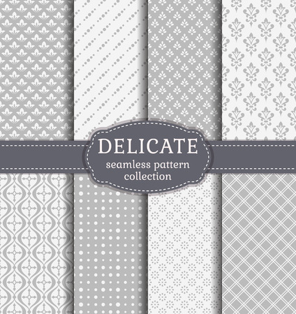 victorian: Abstract seamless patterns in delicate white and gray colors. Set of backgrounds with vintage damask, geometric and floral ornaments. Vector collection.