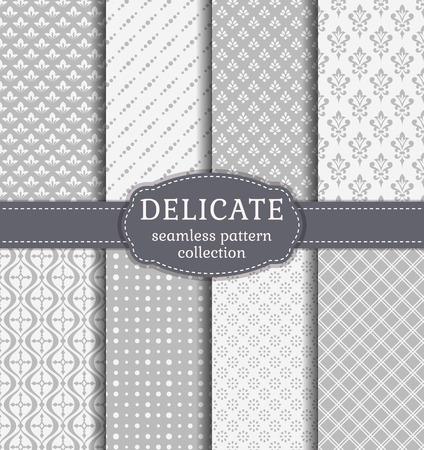 Zusammenfassung nahtlose Muster in zarten weißen und grauen Farben. Set von Hintergründen mit Weinlesedamast, geometrischen und floralen Ornamenten. Vektor-Sammlung. Standard-Bild - 53554131