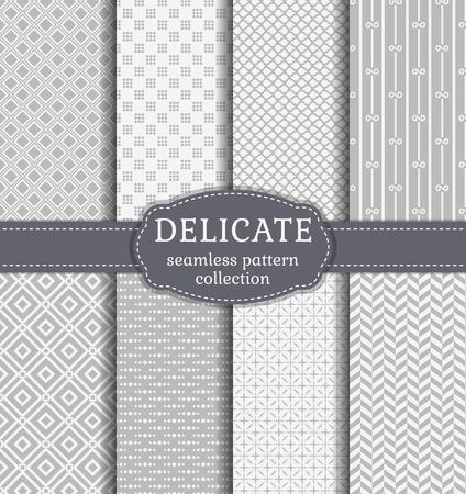 繊細な白とグレー色の抽象的なシームレス パターン。幾何学的な装飾と背景のセットです。ベクター コレクション。 写真素材 - 53554133