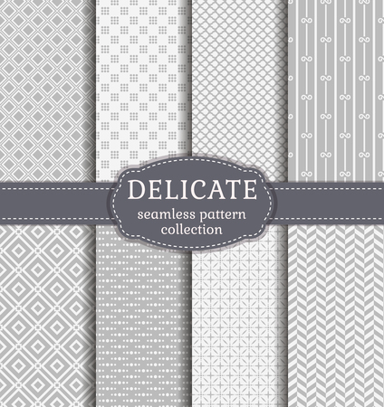 Abstract seamless patterns in delicate white and gray colors. Set of backgrounds with geometric ornaments. Vector collection. Ilustração