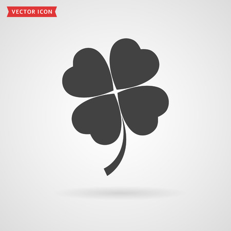 lucky clover: Lucky shamrock icon isolated on white background. Clover quatrefoil silhouette for st. patrick day design. Vector illustration.