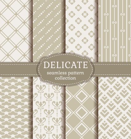 Abstract seamless patterns in monochrome colors. Set of elegant backgrounds with damask, geometric, floral and japanese ornaments. Vector collection. Vettoriali