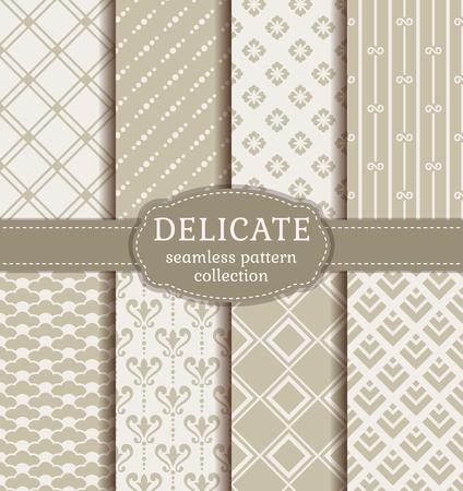 Zusammenfassung nahtlose Muster in monochromen Farben. Set elegante Hintergrund mit Damast, geometrisch, floral und japanische Ornamente. Vektor-Sammlung. Standard-Bild - 53554138
