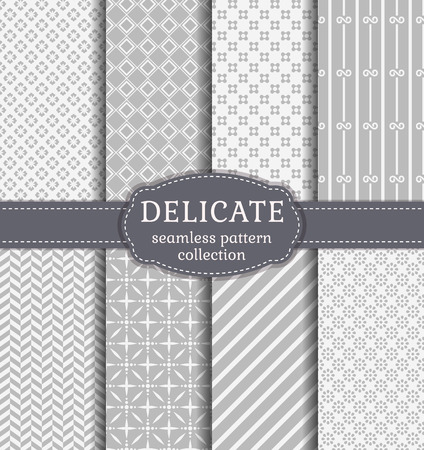 herringbone: Abstract seamless patterns in delicate white and gray colors. Set of backgrounds with geometric and floral ornaments. Vector collection.