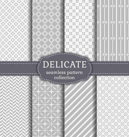 Résumé modèles sans couture dans des couleurs blanc et gris délicats. Ensemble de milieux avec des ornements géométriques et floraux. collection de Vector.