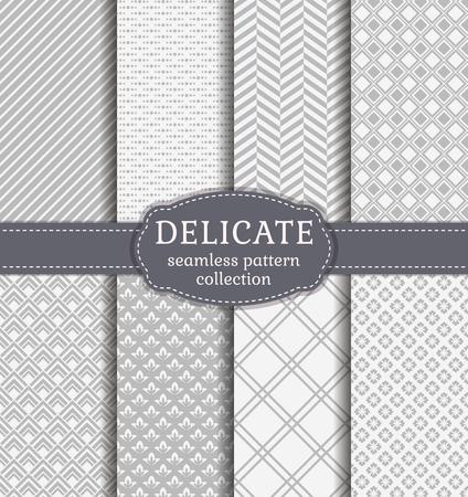 Abstracte naadloze patronen in delicate witte en grijze kleuren. Reeks achtergronden met geometrische en florale ornamenten. Vector collectie.