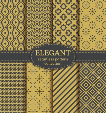 digital paper: Abstract seamless patterns in gray and gold colors. Set of elegant backgrounds with geometric and floral ornaments. Vector collection. Illustration