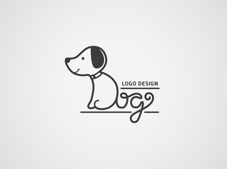 Dog logo template. Cute puppy logotype isolated on white background. The body and tail are made from hand drawn letters Dog. Vector concept design.