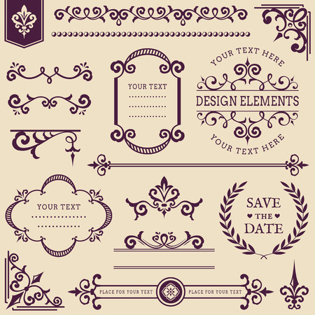 vignettes: Set of vintage decorations isolated on clean background. Collection of text deviders, frames, page or web decorations, corners, vignettes, wreath and other design elements. Vector illustration. Illustration