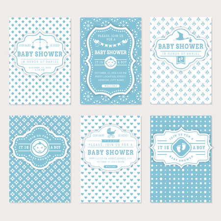 Baby shower set. Cute invitation cards for boy baby shower party. collection on white and blue colors. Illustration